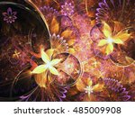 Golden Fractal Flowers  Digita...
