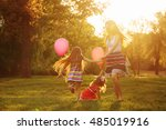 mother and two daughters... | Shutterstock . vector #485019916