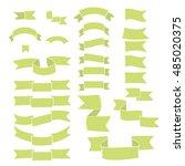 green ribbons  big set of hand... | Shutterstock .eps vector #485020375