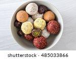 colorful dessert  raw vegan... | Shutterstock . vector #485033866