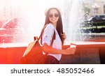 great day out. beautiful young... | Shutterstock . vector #485052466