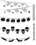 hanging festive halloween... | Shutterstock .eps vector #485052952