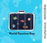 flat vector. world tourism day. ... | Shutterstock .eps vector #485053846