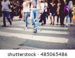 people on zebra crossing street | Shutterstock . vector #485065486