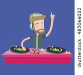 a hipster young dj with the... | Shutterstock .eps vector #485066032