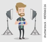 a hipster photographer with the ... | Shutterstock .eps vector #485066116