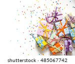 small gifts are packed in... | Shutterstock . vector #485067742