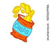 bag of potato chips | Shutterstock .eps vector #485069986