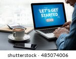 let's get started thoughtful... | Shutterstock . vector #485074006