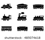 train isolated black icons... | Shutterstock .eps vector #485074618