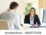 guy giving a curriculum vitae... | Shutterstock . vector #485075338