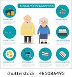 senior  age infographics  flat... | Shutterstock .eps vector #485086492