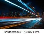 blurred traffic light trails on ... | Shutterstock . vector #485091496