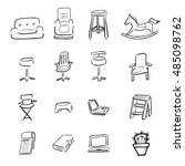 Chairs Sofa Cartoon Drawing Icons Stock Vector Royalty Free