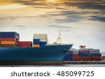 trade port and shipping the... | Shutterstock . vector #485099725