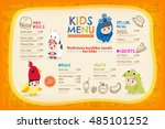 cute colorful kids meal menu... | Shutterstock .eps vector #485101252