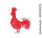 rooster red label. vintage... | Shutterstock .eps vector #485108578