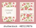 vector floral business cards | Shutterstock .eps vector #485119876