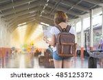 traveler with backpack using... | Shutterstock . vector #485125372