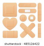 first aid band plaster strip... | Shutterstock .eps vector #485126422