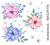 hand drawn in watercolor floral ... | Shutterstock . vector #485129776