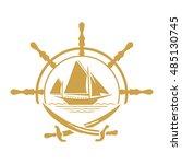 flat pirate yacht icon. boat...