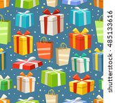 different color gift boxes... | Shutterstock .eps vector #485133616