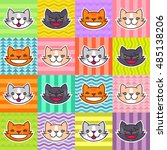 cats faces set. different cat... | Shutterstock .eps vector #485138206
