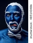 man painted in blue color with... | Shutterstock . vector #485143486