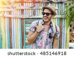 young man traveling in latin...   Shutterstock . vector #485146918