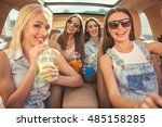 beautiful stylish girls are... | Shutterstock . vector #485158285