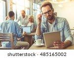 handsome businessman in shirt... | Shutterstock . vector #485165002