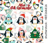 vector cartoon greeting card.... | Shutterstock .eps vector #485166616