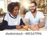 beautiful interracial couple...   Shutterstock . vector #485167996
