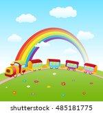 cartoon cute train on a hill...   Shutterstock .eps vector #485181775