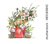watercolor illustration on a... | Shutterstock . vector #485183842