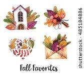 watercolor set of autumn items. ... | Shutterstock . vector #485184886