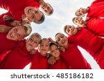 kids soccer team in huddle | Shutterstock . vector #485186182
