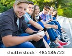group of young students with... | Shutterstock . vector #485186722