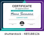 colorful horizontal certificate ... | Shutterstock .eps vector #485188126