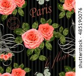 seamless paris travel wallpaper.... | Shutterstock .eps vector #485190076