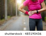 side stitch   woman runner side ... | Shutterstock . vector #485190436