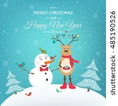 merry christmas greeting card... | Shutterstock .eps vector #485190526