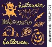 halloween hand drawn characters ... | Shutterstock .eps vector #485194705