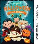 vintage halloween poster design ... | Shutterstock .eps vector #485203762