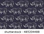 old engraving rhinoceros.... | Shutterstock .eps vector #485204488