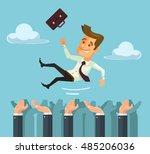 throw hands happy businessman... | Shutterstock .eps vector #485206036