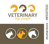 Stock vector vector illustration veterinary logo cat dog horse frame template for example a company logo 485207032