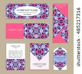 set of business cards. template ... | Shutterstock .eps vector #485217316