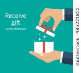 opening gift holding in the... | Shutterstock .eps vector #485221852